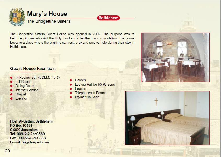 Mary's House Bethlehem Guest House Jerusalem